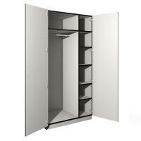 Garderobenschrank mit diversen Ablagefächern und Kleiderstange und Türen